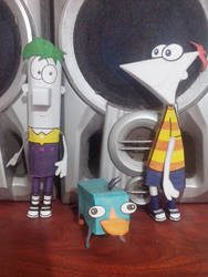 Phineas and Ferb with Perry