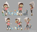 Girl and fox - action poses