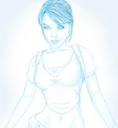 Lara Croft in cyan by LadyBodom