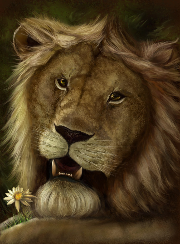 Portrait of a sentimental lion by Vilenchik