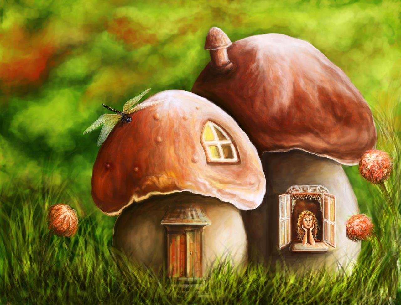the gallery for  gt  fairies on mushrooms mushroom clipart Cash Clip Art