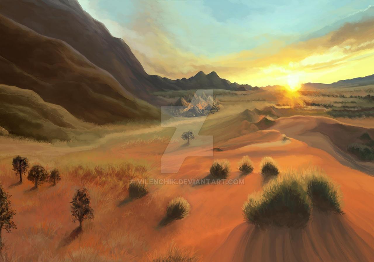 Desert sunset by Vilenchik