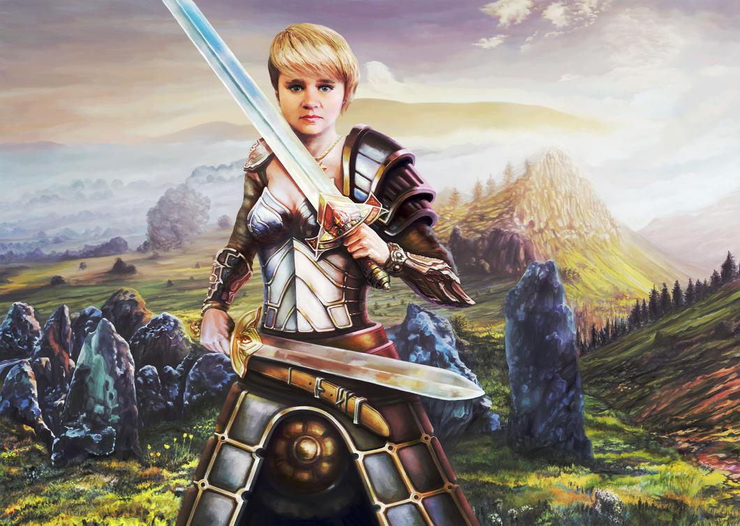 Female portrait in armor by Vilenchik