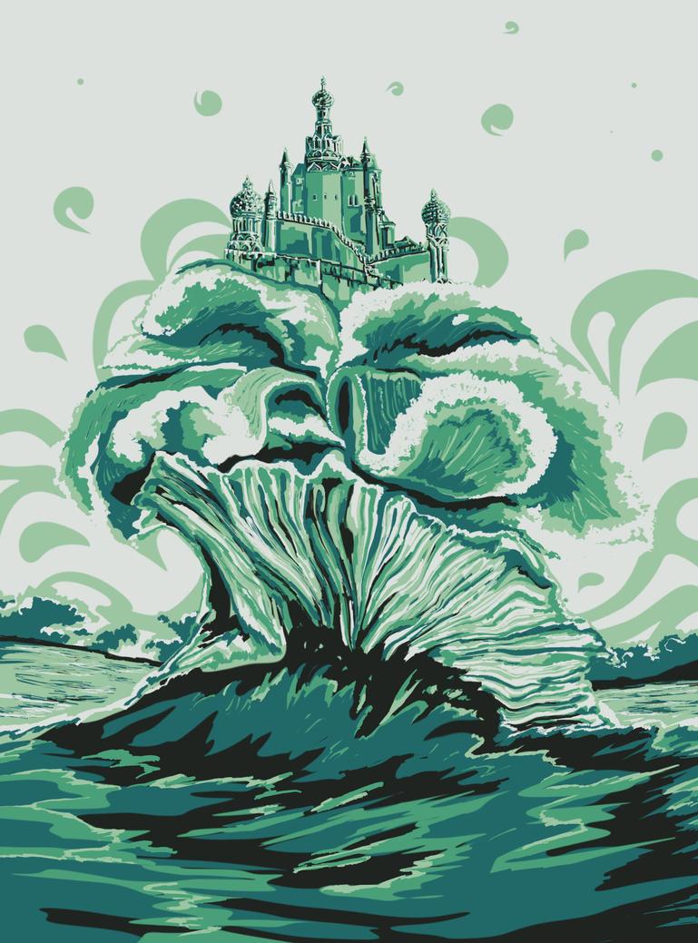 Mystic castle on the waves by Vilenchik