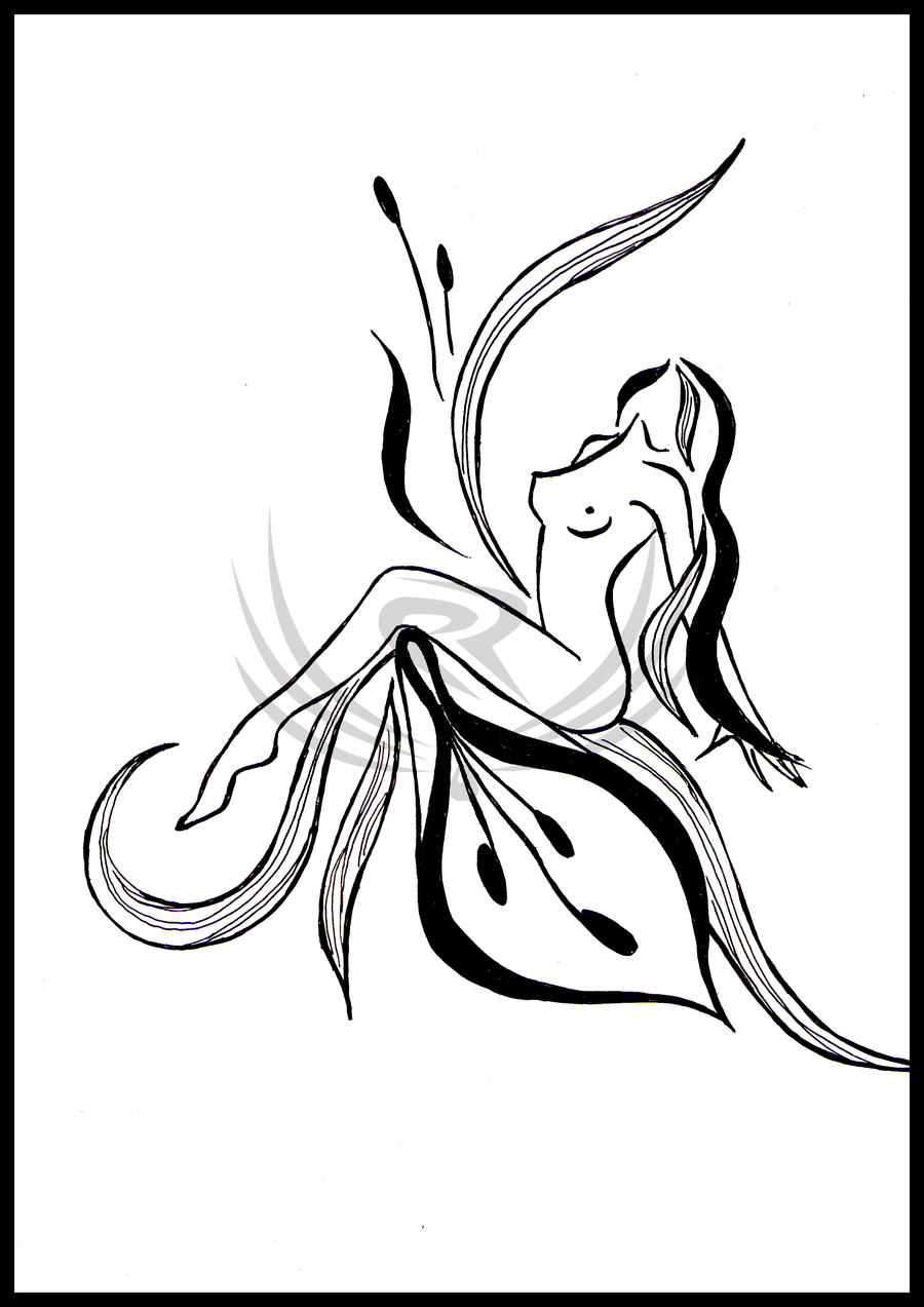 Abstract Flower Line Drawing : Abstract women as flowers by elro on deviantart