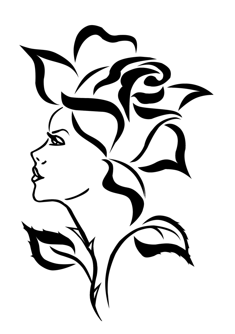 Line Drawing Face Tattoo : Woman as a rose by elro on deviantart