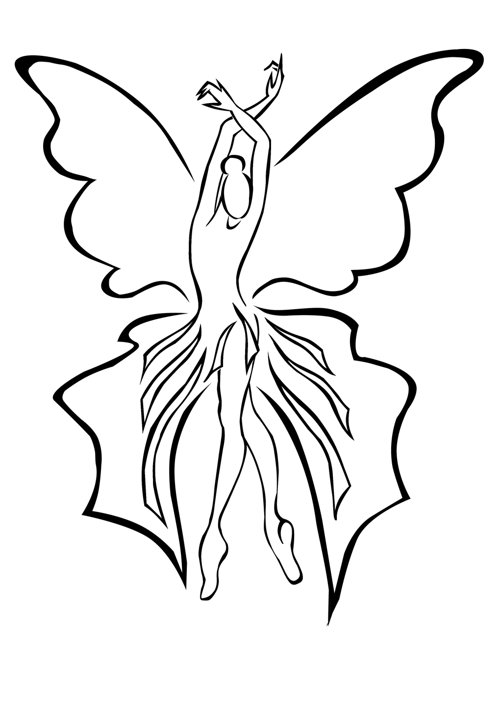 Line Drawing Of Woman : Woman butterfly by elro on deviantart