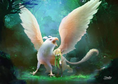 My Elf Warrior with her pet artwork