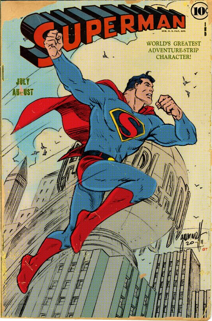 Superman Comic Book Cover Art ~ Superman art deco and color by comicbookartfiend