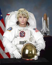 Heroic teen astronaut photoshop