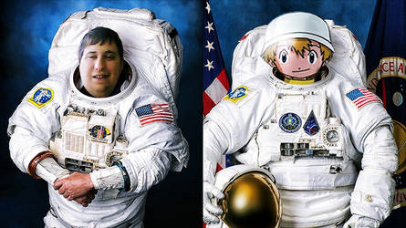 Joey and TK/Takeru Takaishi as astronauts in suits
