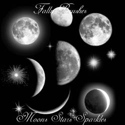 Moons Stars Sparkles Brushes by Falln-Brushes