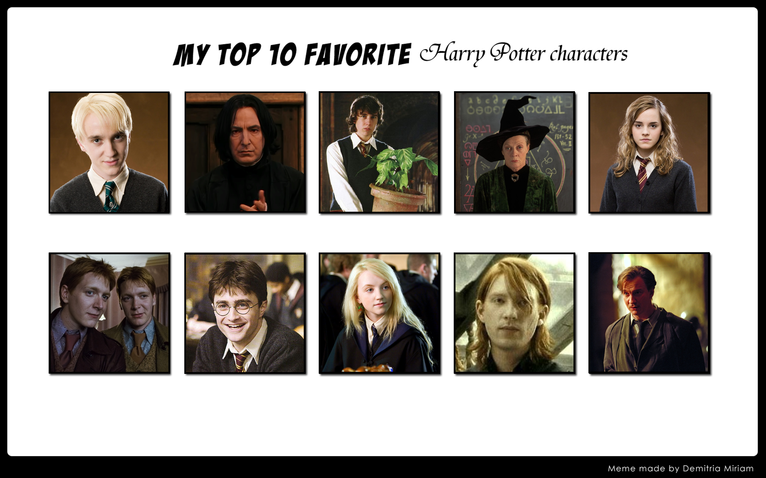 My Top 10 Favorite Harry Potter Characters by ...