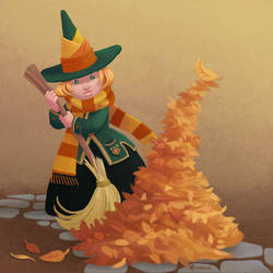 The little Witchtober 1 :Leaves, scarf and broom