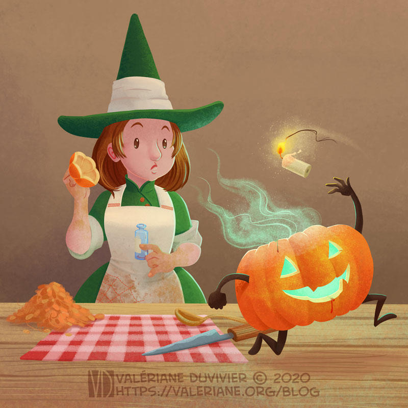 The little Witchtober 4 : Potion, candle, pumpkin