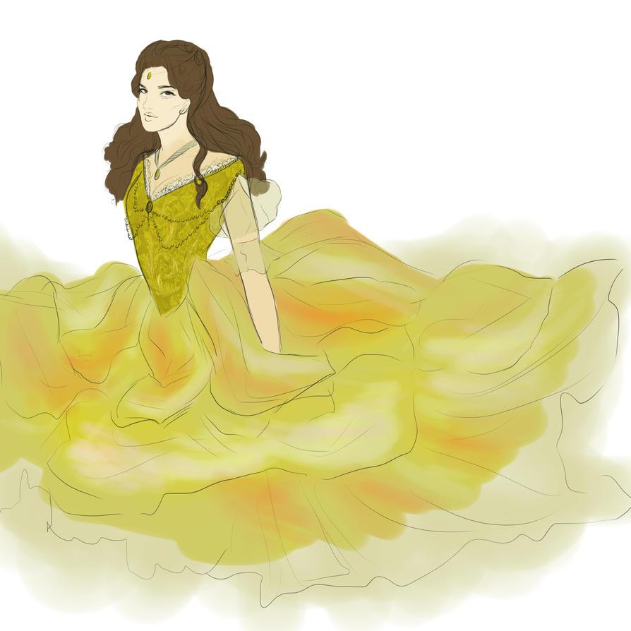 Belle Fashion Sketch by SenshiOfMyth