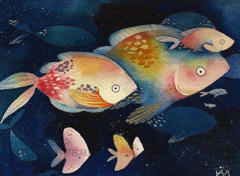 Watercolor Fishes by MyPetiteCakes