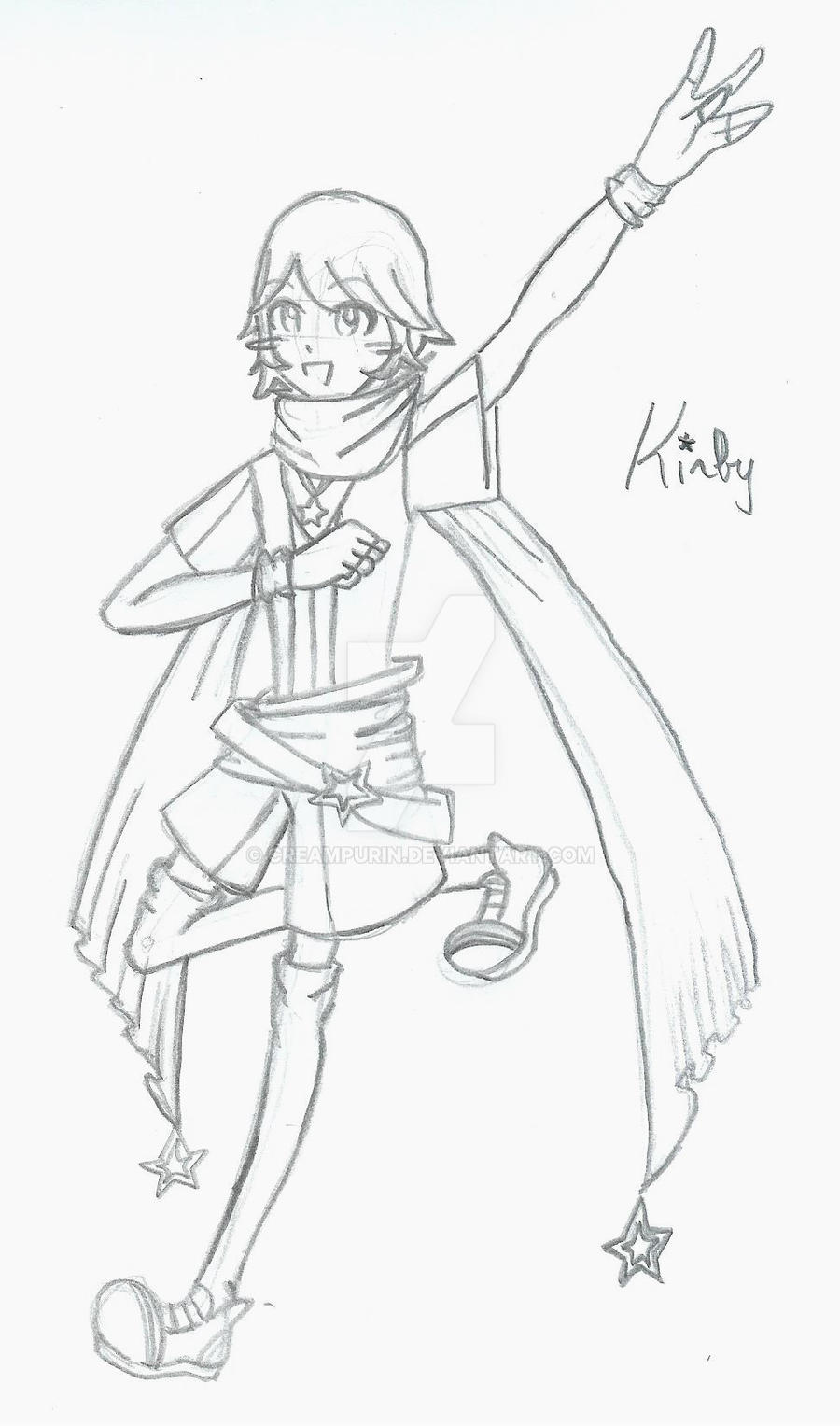 Kirby Gijinka Sketch by CreamPurin
