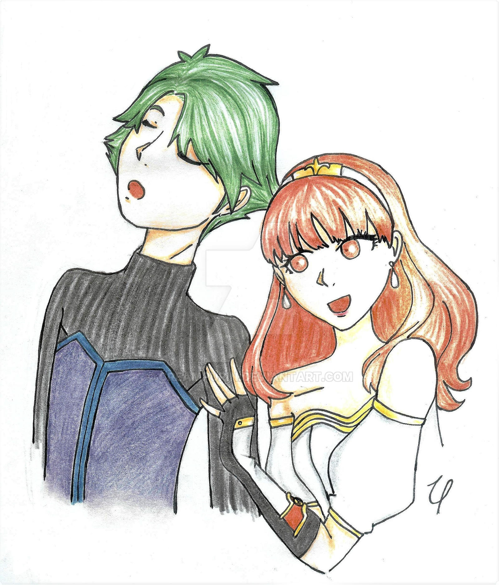 Alm and Celica (colored) by CreamPurin