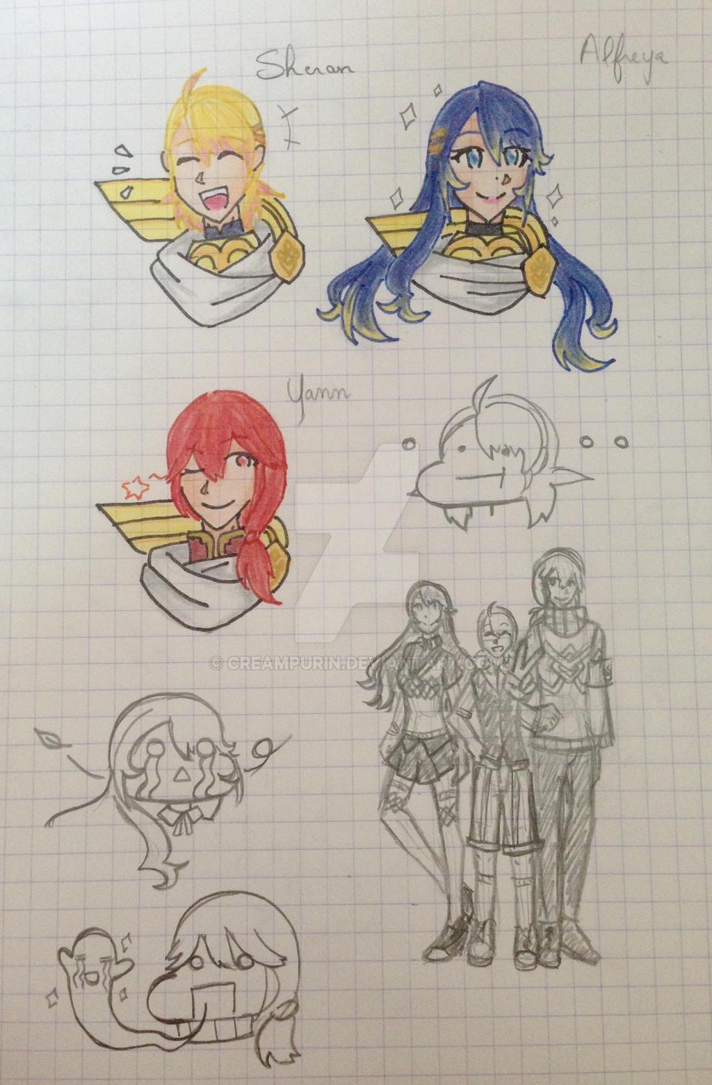 Askr Trio (genderswap) doodles  by CreamPurin