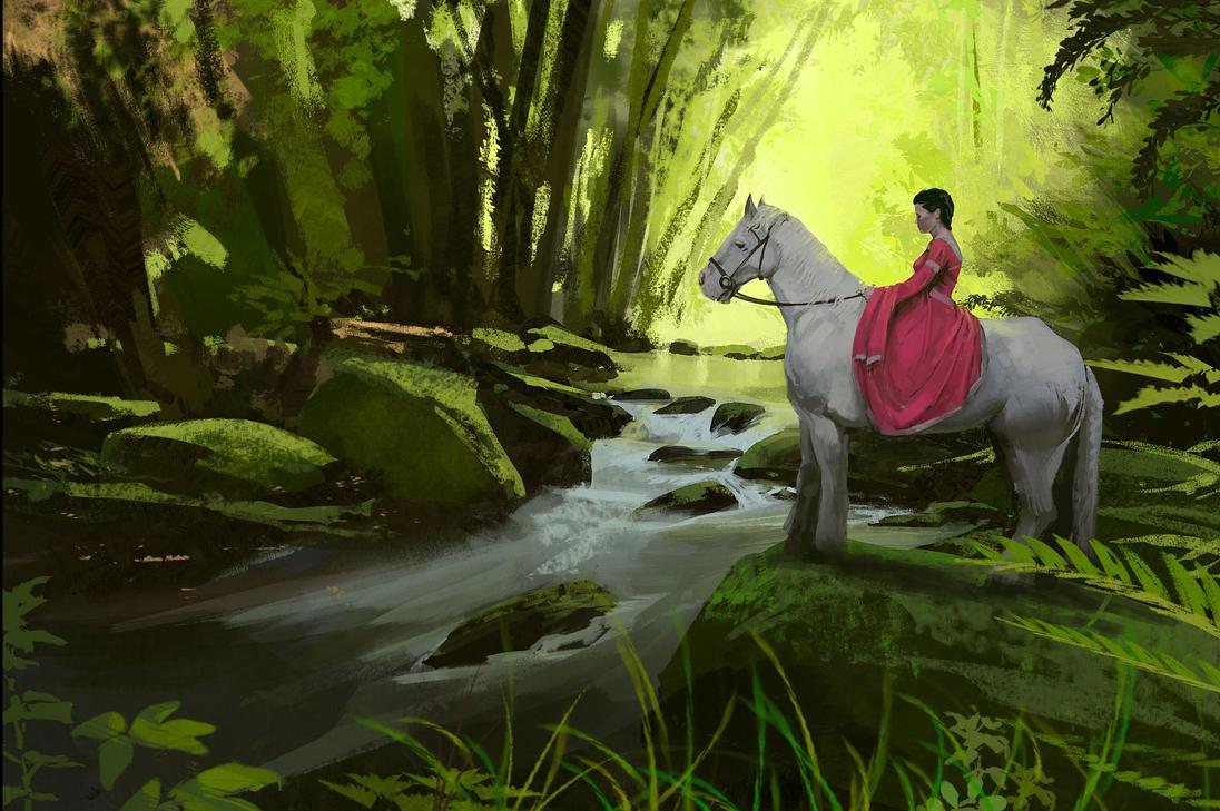 Horse and Stream study by jonathanguzi