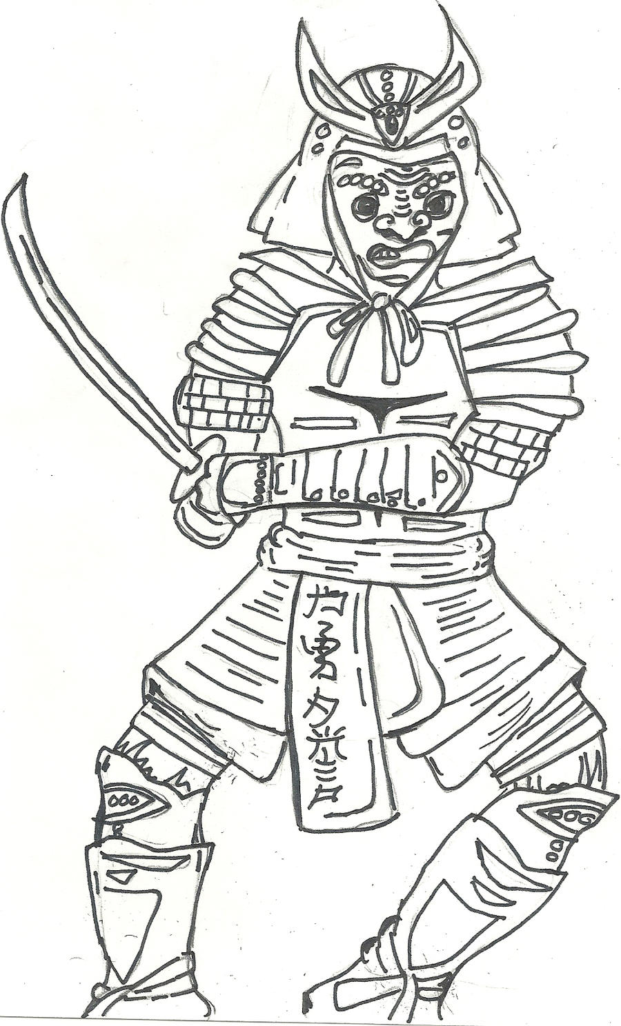 It's just a graphic of Canny Samurai Warrior Drawing