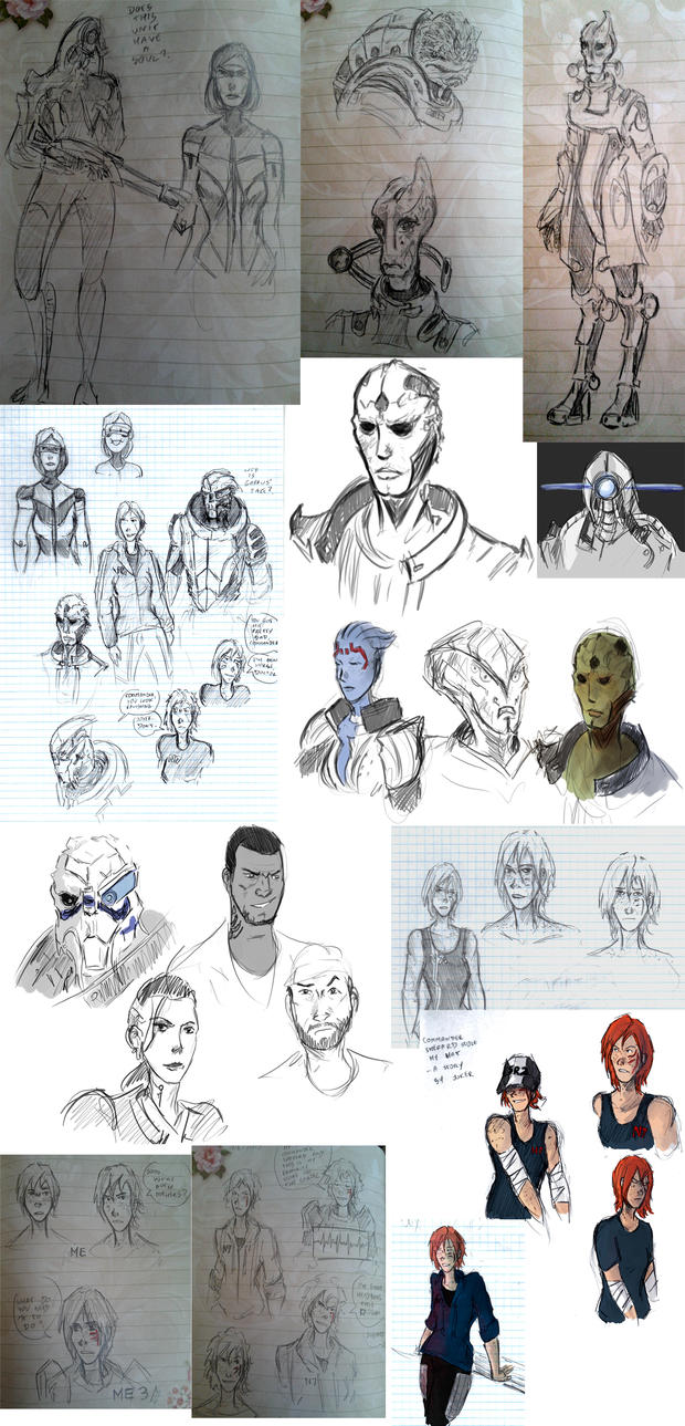 Mass(ive) Effect Sketches by DoriDoriSushi
