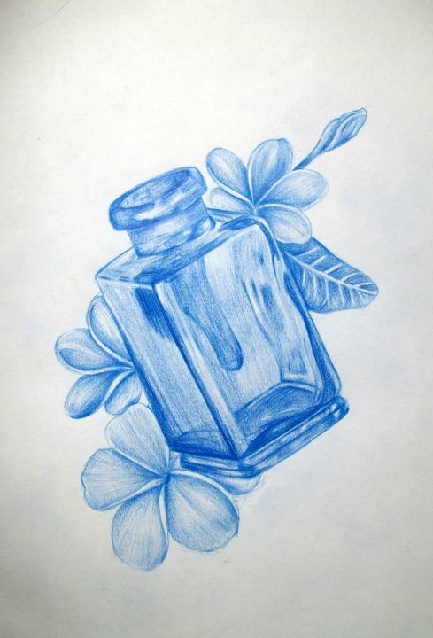 Flower and Bottle tattoo design by Ronny-Inked