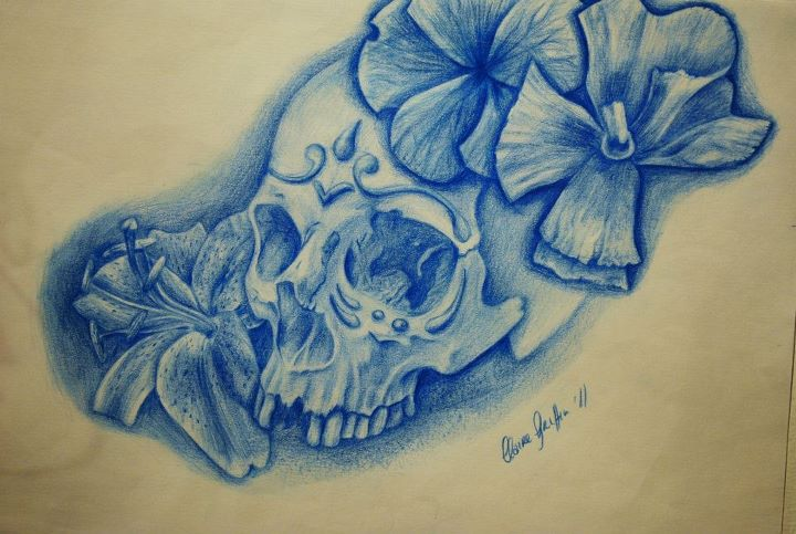 3bae5891c7448 Sugar skull and flower tattoo design by Ronny-Inked on DeviantArt