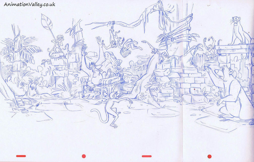 Original Hand Drawn Jungle Book Production Artwork by AnimationValley