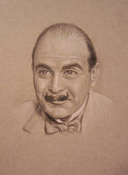 Hercule Poirot - pencil on toned paper by auggie101