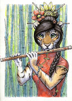 Flute-playing tigress by Zajiru