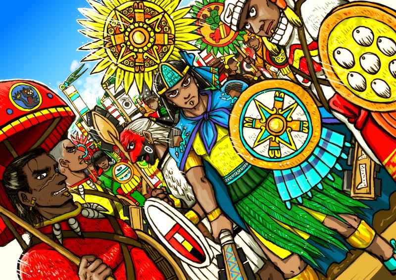 Tlatoani and Aztec warriors by nosuku-k