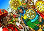 Tlatoani and Aztec warriors