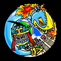 Huitzilopochtli and Xiuhcoatl by nosuku-k