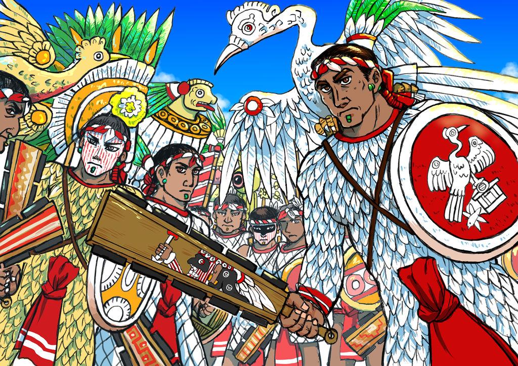 Xicotencatl and Tlaxcallan warriors by nosuku-k