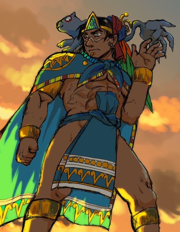 The Aztec emperor and the little ahuizotl by nosuku-k