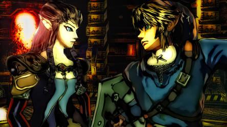 Smash Bros Link and Zelda by f117lionhartgordon