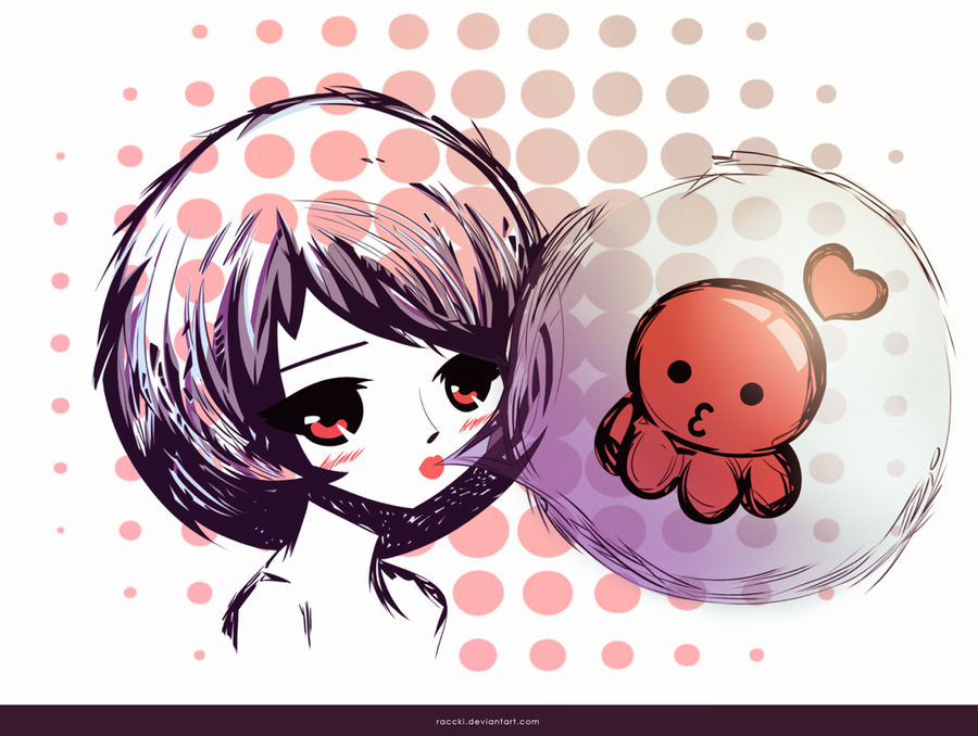 Cute Octopus Logo Octopus Cute Girl by Raccki