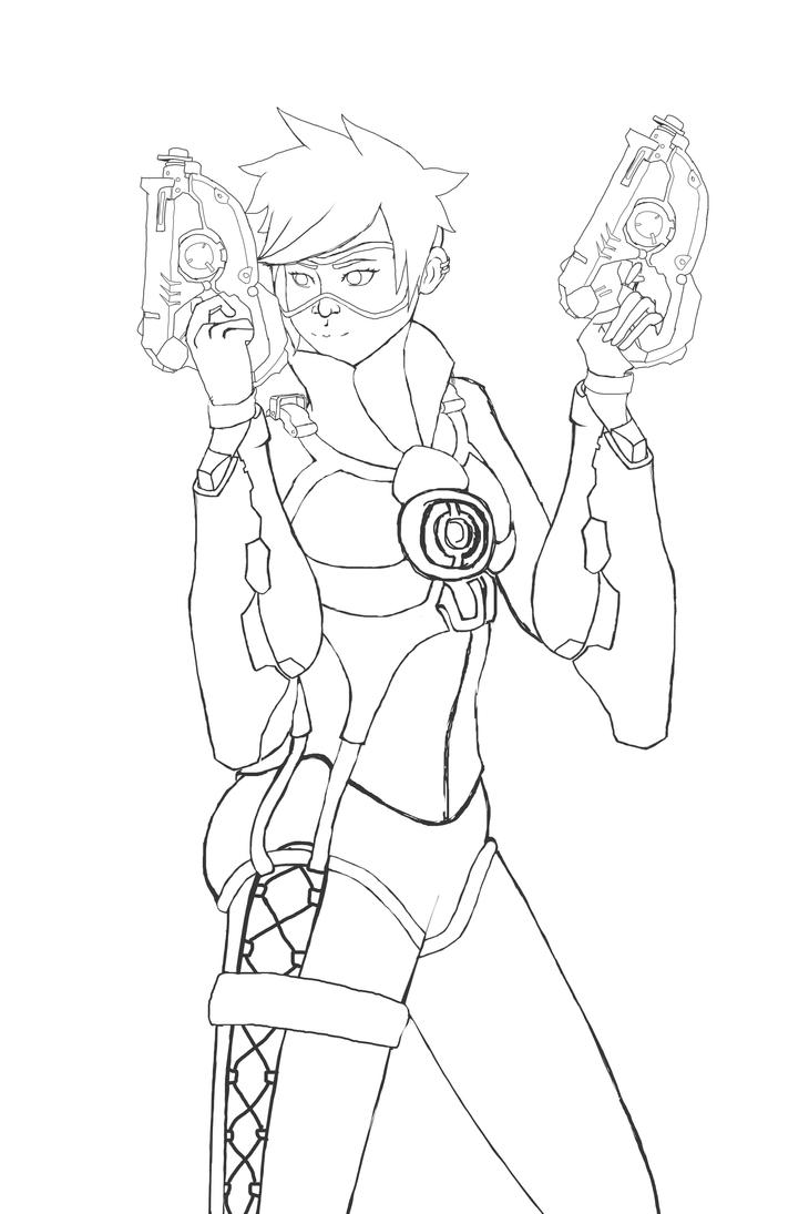 D Line Drawings Quest : Overwatch tracer lineart by shmaurie on deviantart
