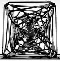 Wire Twirl-Tornado Cube BW