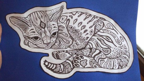 Cat zentangle by Aspidal