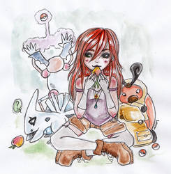 Tara and her pkmn by Loucie