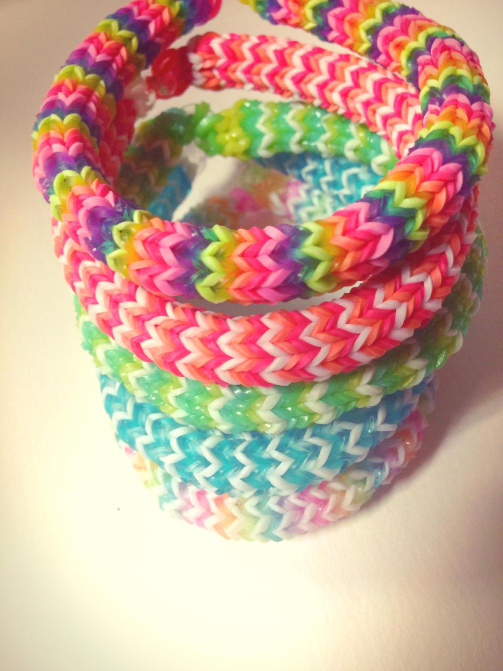 Hexa rainbow stack   hexafish loom bracelets by melon love d76v9bv