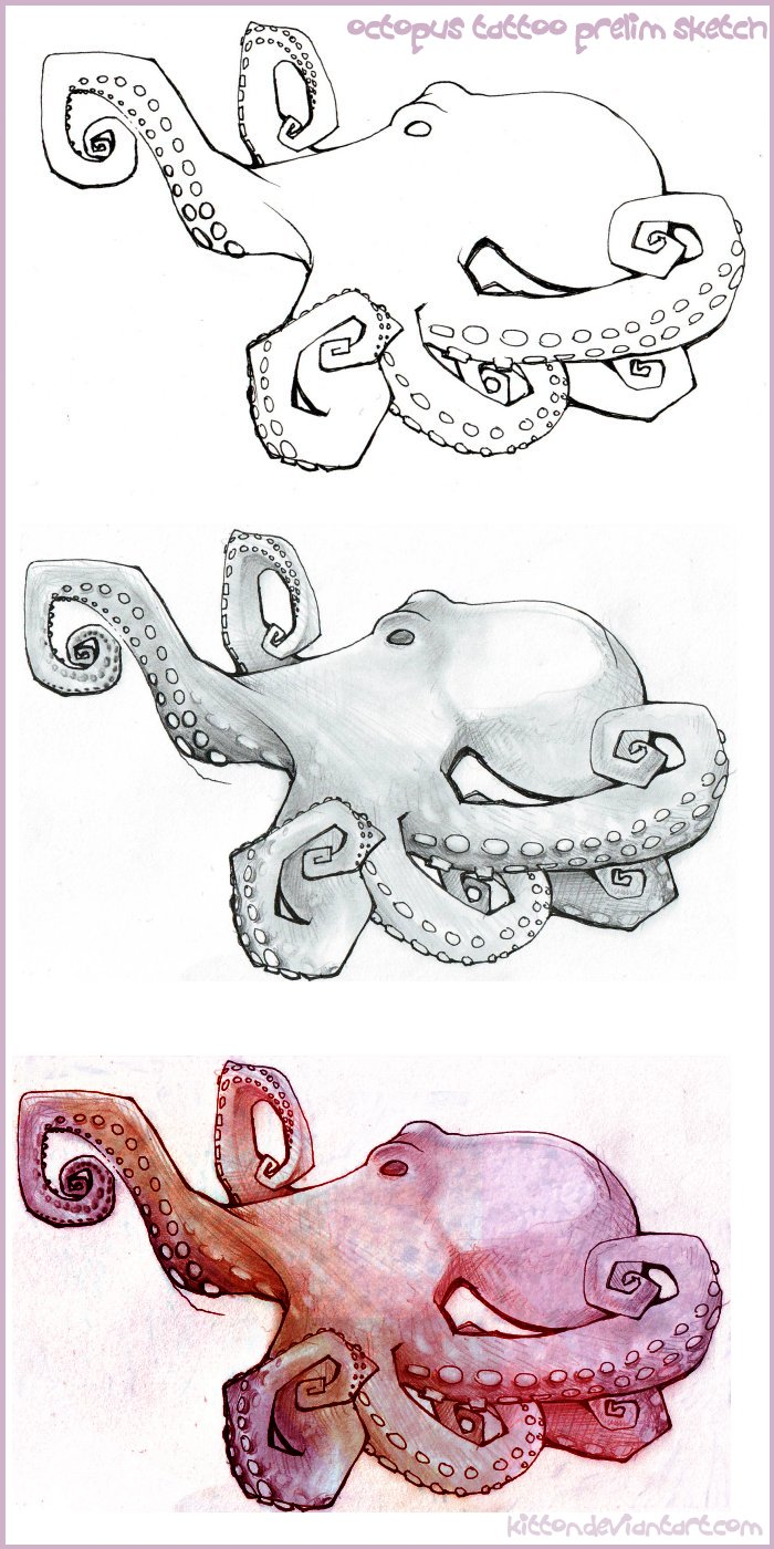 Octopus Tattoo Sketch Octopus Tattoo Prelim