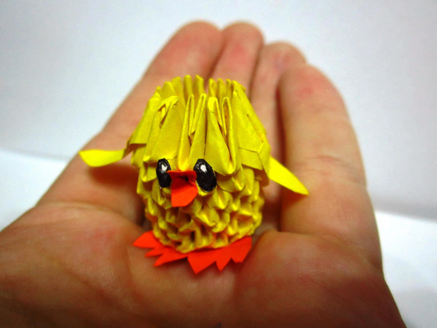 3d origami tiny baby chicken for sale by ellycolor on