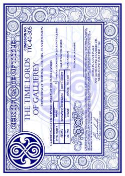TARDIS Master Schematics Certificate of Title
