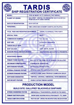 TARDIS Master Schematics Registration Certificate