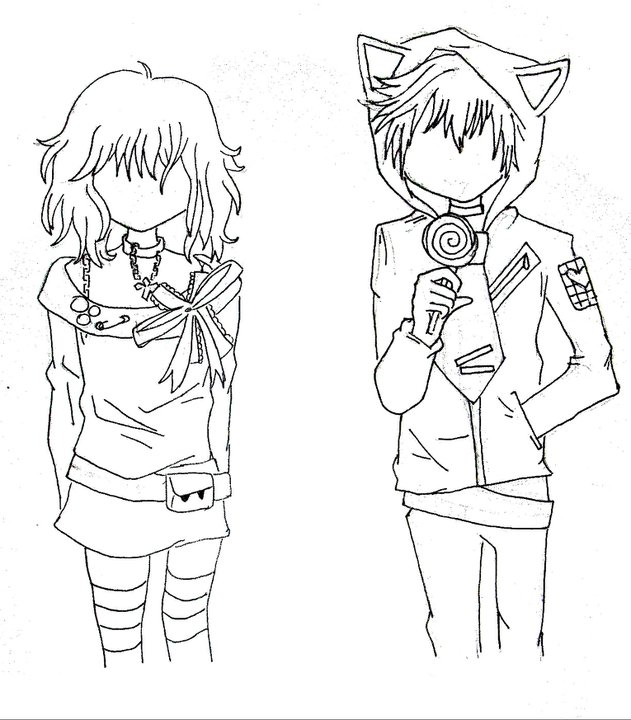 emo couples coloring pages - photo#26