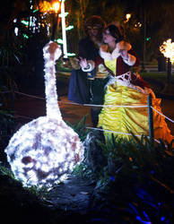 Beauty and Beast in the magical garden